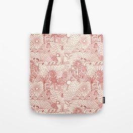 Hawaiian Hula Dancer Toile Red Tote Bag