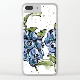 Blueberries Clear iPhone Case