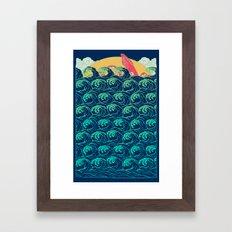 Squid on the waves Framed Art Print