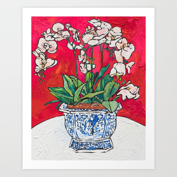 Orchid in Blue-and-white Bird Pot on Red after Matisse Art Print