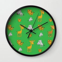 Cute Jungle Animals Pattern  Wall Clock