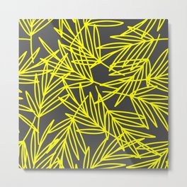 Leaves in yellow and Gray shape  Metal Print