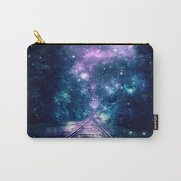 "Train Tracks : ""Next Stop, Anywhere"" Purple Teal Carry-All Pouch"