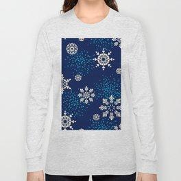 Navy blue aqua white geometrical Christmas snowflakes Long Sleeve T-shirt
