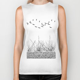 black and white winter landscape Biker Tank