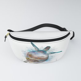 Turtle Double Exposure Watercolor Fanny Pack