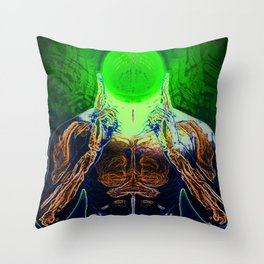 MIND #4 Concentrating Meditation Psychedelic Ethereal Character Throw Pillow