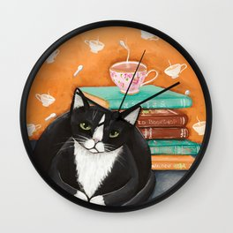 Cats, Tea, and Books Wall Clock