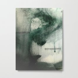 Last Kiss: a minimal, abstract watercolor piece in greens Metal Print