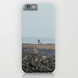 Fisherman harvesting seaweed from the Jeju sea, Korea. iPhone Case