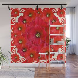 AWESOME RED FLOWERS BOUQUET PATTERN ABSTRACT ART Wall Mural