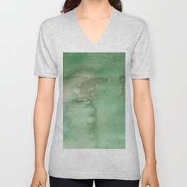 Hand painted forest green brown watercolor camo pattern Unisex V-Neck