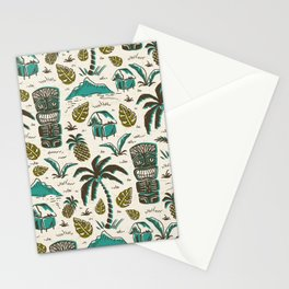 Tiki Party - Ivory Aqua Stationery Cards