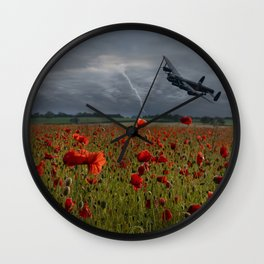 Lancaster Bomber Over A Poppy Field Wall Clock