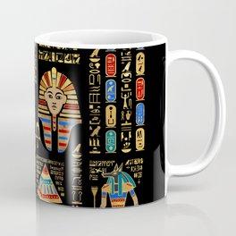 Egyptian hieroglyphs and deities on black Coffee Mug