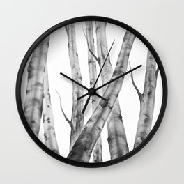 Birch Tree | Watercolour | Painting | black-and-white | Black and White | Minimalism Wall Clock