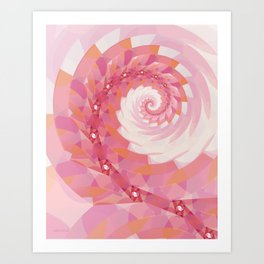 Strawberry Pink & Tangerine Orange Spiral Art Print