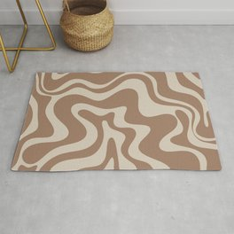 Liquid Swirl Contemporary Abstract Pattern in Chocolate Milk Brown and Beige Rug