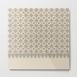 Warm Sepia Crochet Square Lace Pattern Metal Print