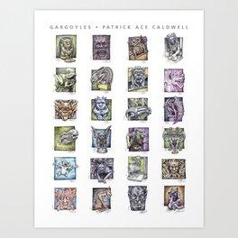 Gargoyle Compilation Print Art Print
