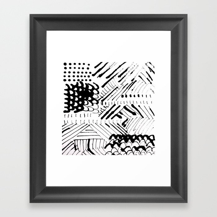 Black and White Ink Abstract Mark Making Pattern Gerahmter Kunstdruck