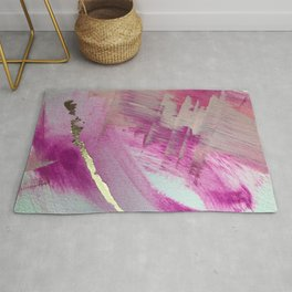 Starburst: a colorful, minimal abstract mixed-media piece in pinks and gold by Alyssa Hamilton Art Rug
