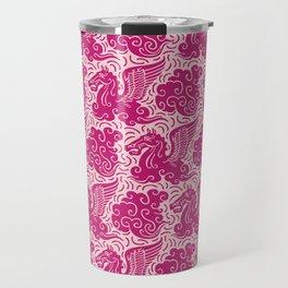 Pegasus Pattern Pink and Raspberry Travel Mug