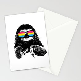 Pride Sloth Pansexual Flag Sunglasses Stationery Cards