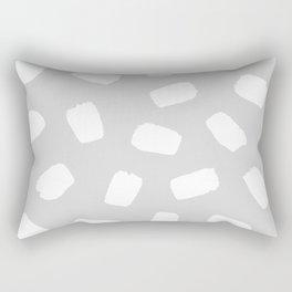 Grayscale Brushstrokes Rectangular Pillow