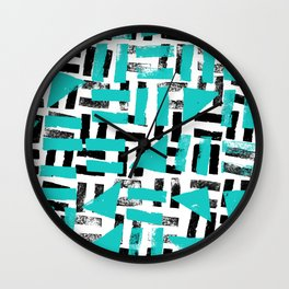 Signs - black & turquoise Wall Clock