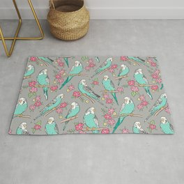 Budgie Birds With Blossom Flowers on Grey Rug