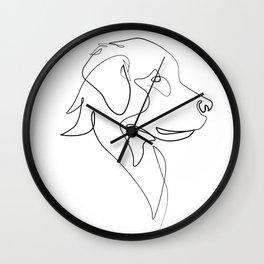 golden retriver one line art Wall Clock