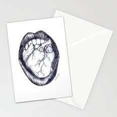 Mouth heart, black white Stationery Cards