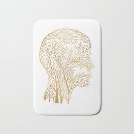 Head Profile Branches - Gold Bath Mat