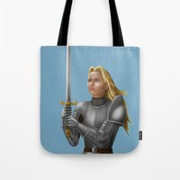 knight Tote Bags featuring Knight by Egberto Fuentes
