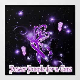 Power Purple For a Cure - The Wings of Love and Hope - Nightshift Canvas Print