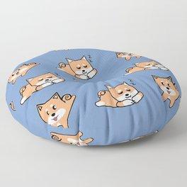 Cool Blue Shiba Pattern Floor Pillow