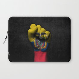 Ecuadorian Flag on a Raised Clenched Fist Laptop Sleeve