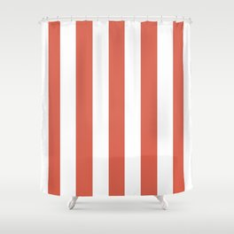 Jelly bean pink - solid color - white vertical lines pattern Shower Curtain