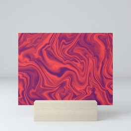 Neon Living Coral - color of year 2019, Ultra Violet Marble Abstract Gradient Pattern Mini Art Print