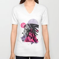 indian V-neck T-shirts featuring Indian by Marlon Hammes