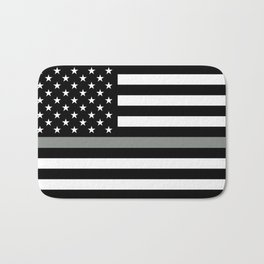 U.S. Flag: Black Flag & The Thin Grey Line Bath Mat