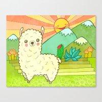 alpaca Canvas Prints featuring Alpaca by My Zoetrope
