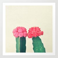 Plaid Cacti Art Print