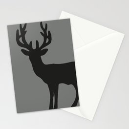 reindeer silhouette grey Stationery Cards