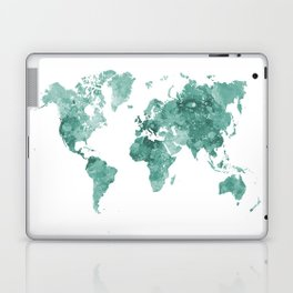 World map in watercolor green Laptop & iPad Skin