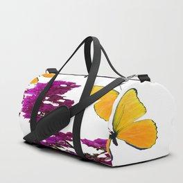 YELLOW BUTTERFLIES & PURPLE BOUGAINVILLEA FLOWERS Duffle Bag