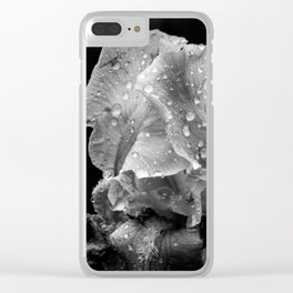 Black And White Flower After The Rain Clear iPhone Case