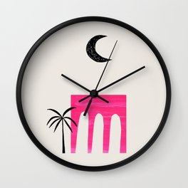 Magenta Minimalist Mid Century Ancient Ruins Paper Collage Moon Lit Palm Tree by Ejaaz Haniff Wall Clock