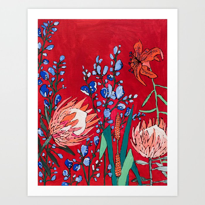 Red and Blue Floral with Peach Proteas Kunstdrucke